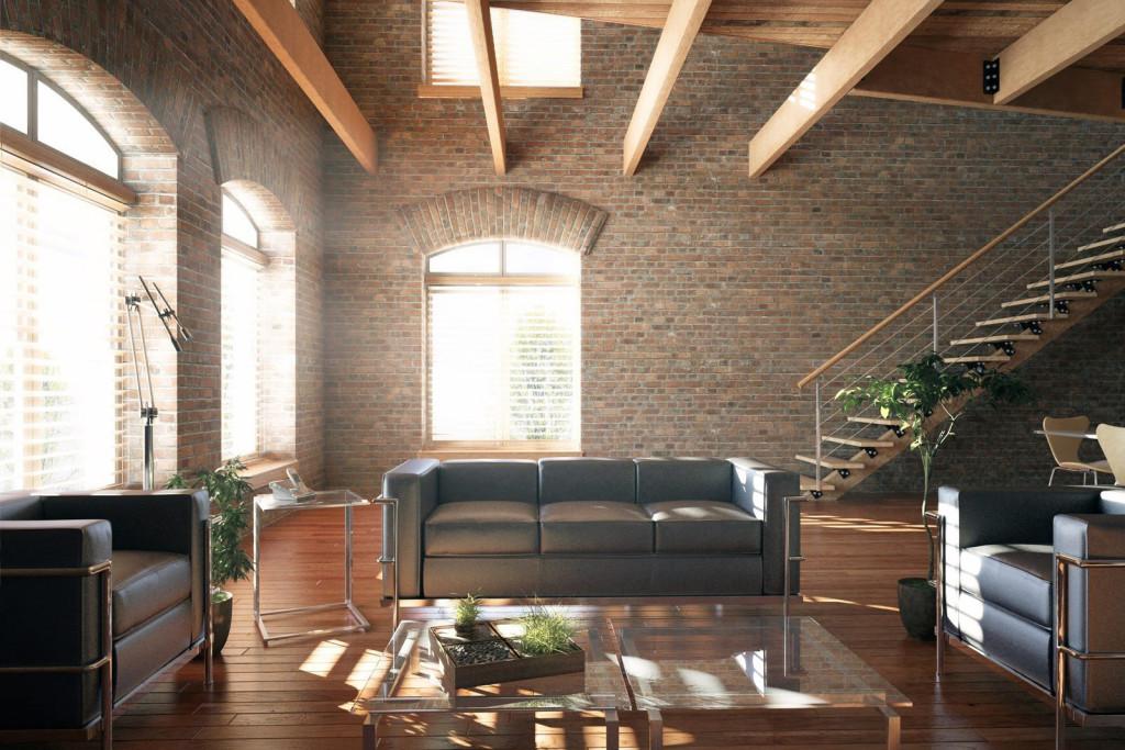 стиль лофт в деревянном доме