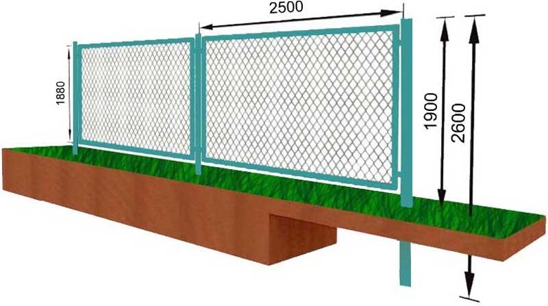 Забор секционный из сетки рабицы своими руками