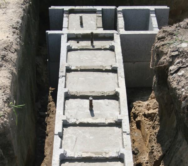 формирование фундамента из несъемной опалубки - процесс заливки бетона