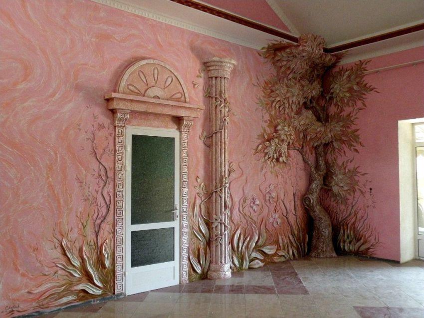 красивые стены из штукатурки и росписью