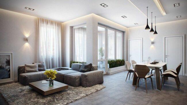 пример расположения светильников в квартире-студии