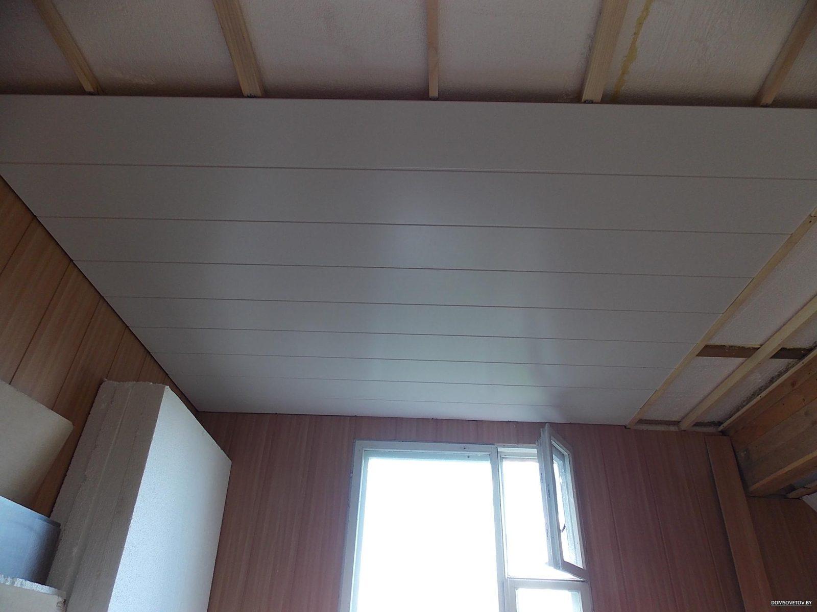 Отделка потолка пвх панели своими руками 71
