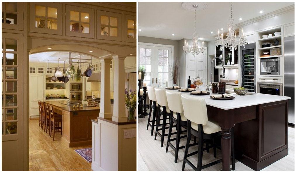 дизайнерские решения кухни с высокими шкафами до потолка