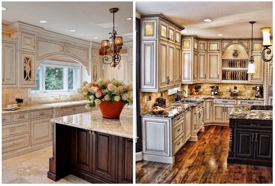 классические дизайны кухонь с высокими шкафами