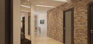 Отделка коридора декоративным камнем Nekopol