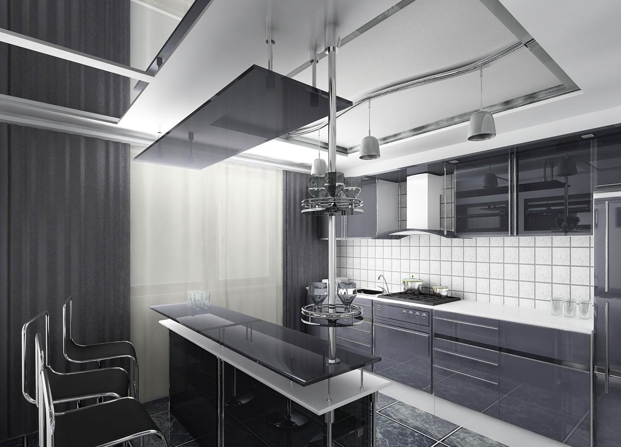 Барная стойка на кухне в стиле хай-тек