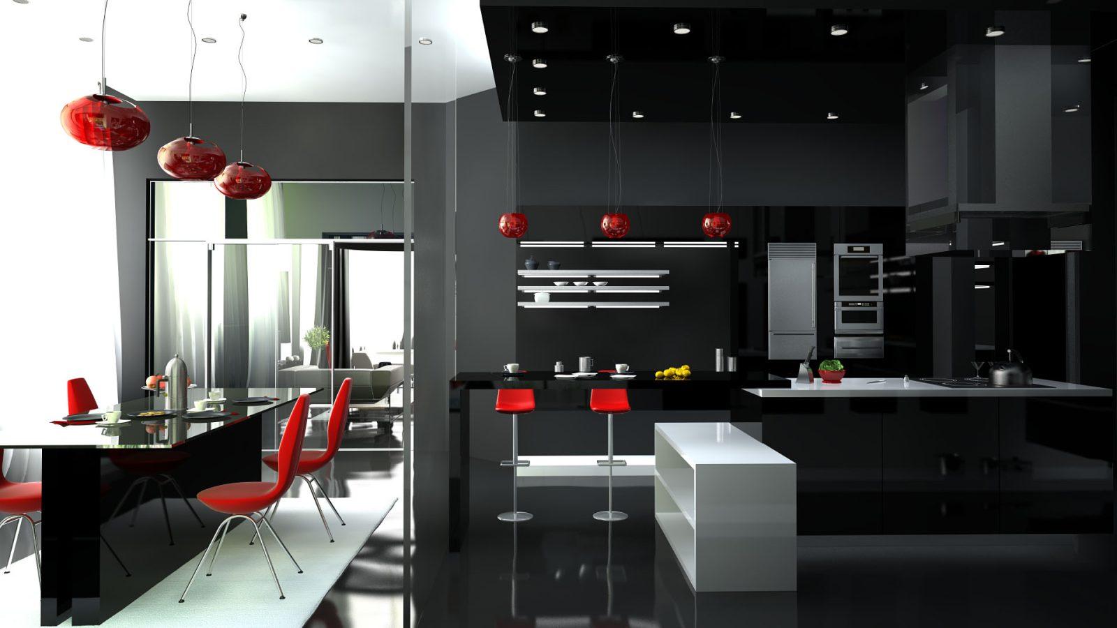 Хай-тек кухня в черных и красных тонах