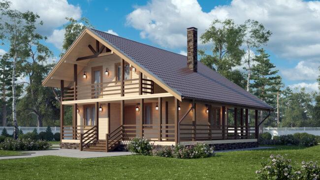 Каркасный дом с террасой и балконом