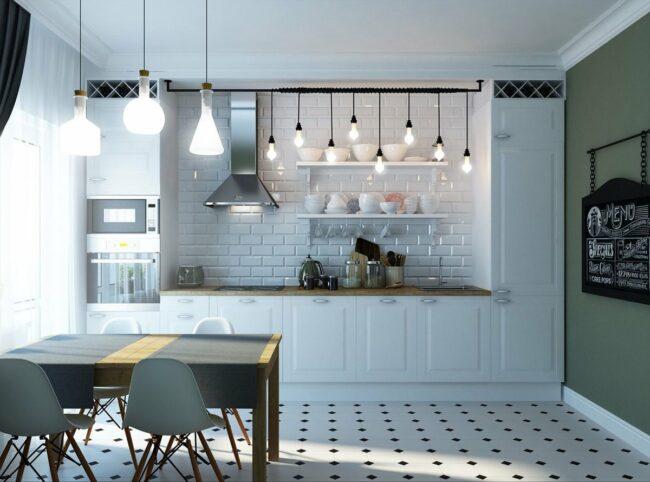 белый потолок в кухне в стиле лофт