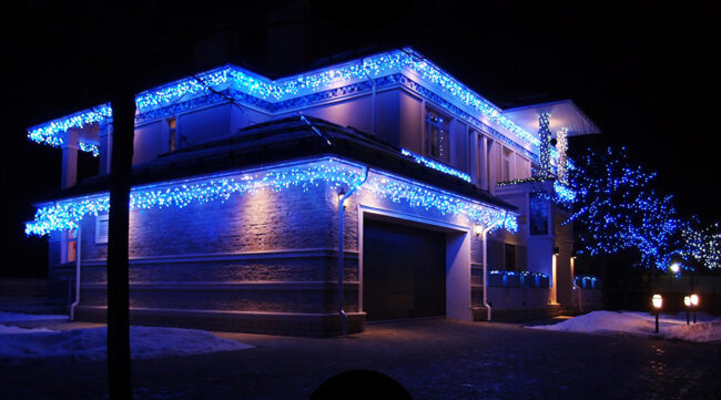 освещение фасада с помощью ленты