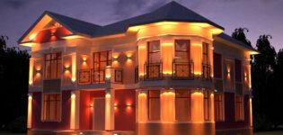 Подсветка фасада дома — ночное украшение для фасада