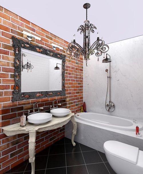 фото стиль лофт для ванной