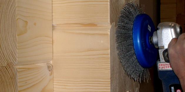 шлифовка пазов бруса внутри дома