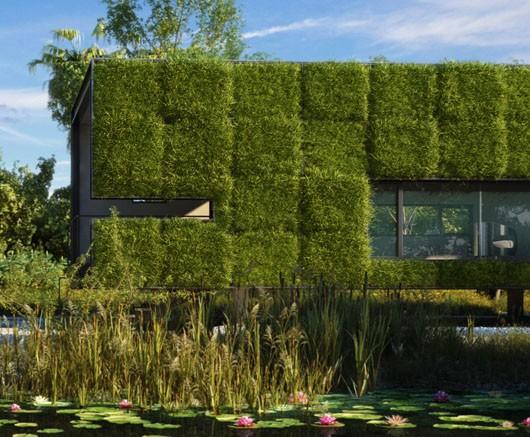Озеленение модульное стен дома
