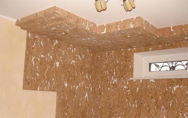 декорирование отдельных элементов пробковым потолоком