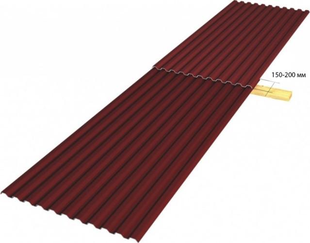 делаем нахлёст стыковых листов при наклоне крыши от 15 до 30 градусов