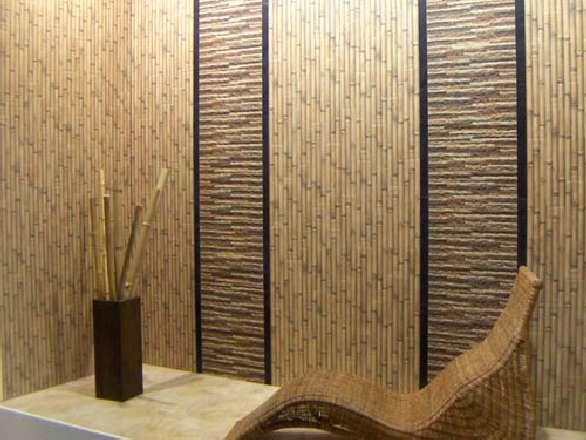 стена и весь интерьер из бамбука