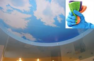 Использование жёстких губок для мытья натяжных потолков
