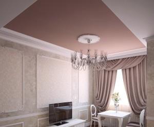 Матовый потолок в двухуровневой конструкции