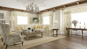 Отделка стен в гостиной в стиле прованс