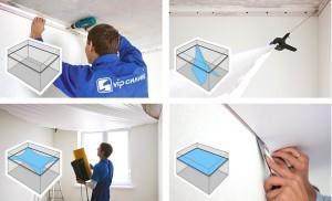 Поэтапная схема монтажа натяжного потолка