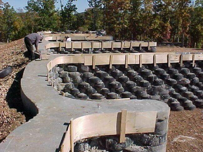Фундамент из покрышек залитый бетоном