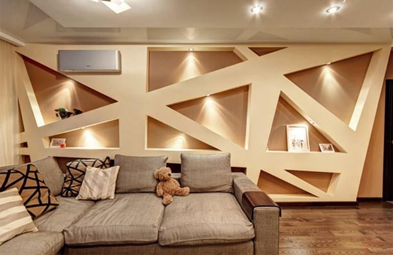 стена сделанная из гипсокартона в деревянном доме
