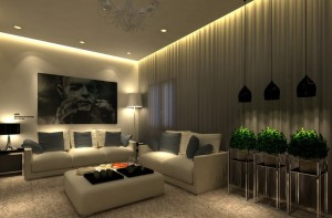 Парящий потолок в гостиной
