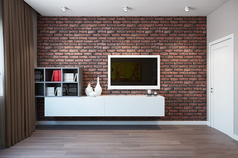 Стиль минимализм в интерьере с кирпичной стеной