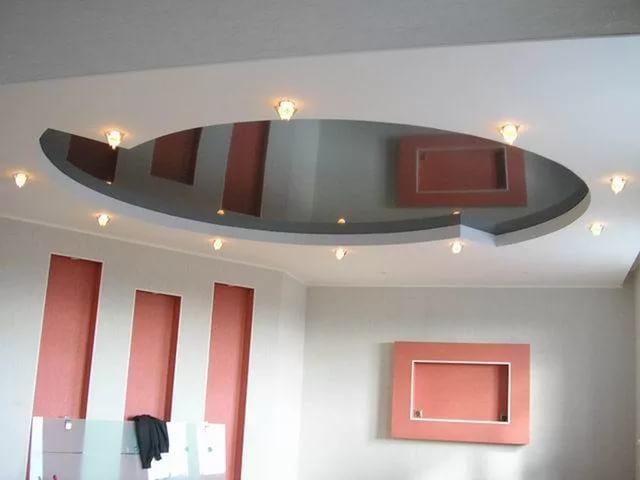потолок из гкл и натяжного зеркального потолка