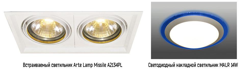 Светодиодные светильники для потолков