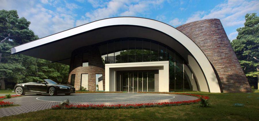 комбинированный стиль фасада дома