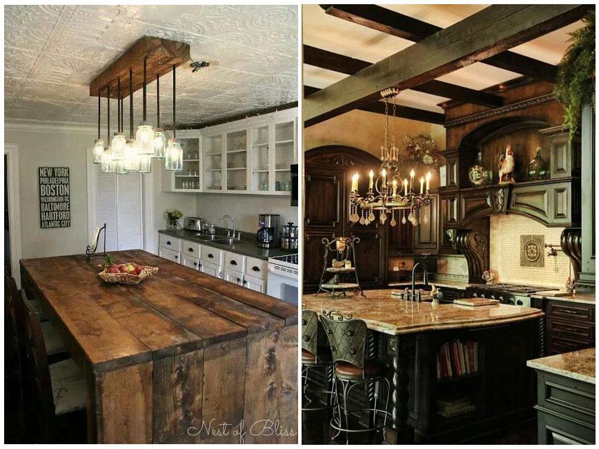 кухня под потолок с деревянным интерьером