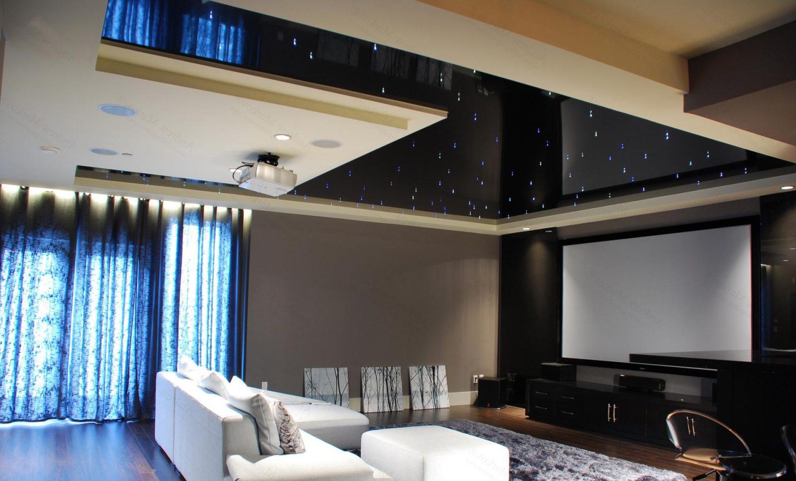 Темный натяжной потолок с подсветкой