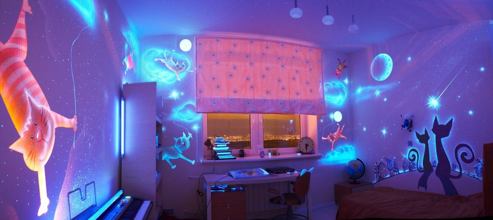 детская комната со светящейся краской