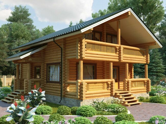 Светлый дом из оцилиндрованного бревна