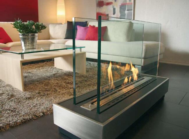 экокамин со стеклом