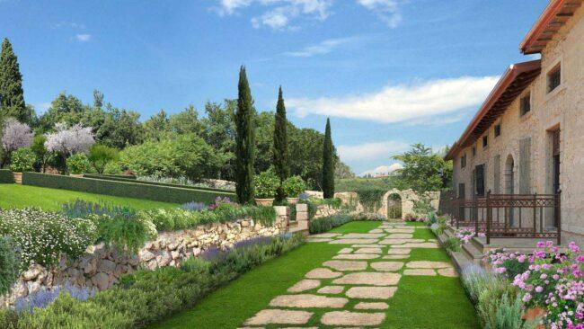 Каменные дорожки в итальянском саду