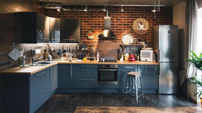 Мебель в кухне в стиле лофт