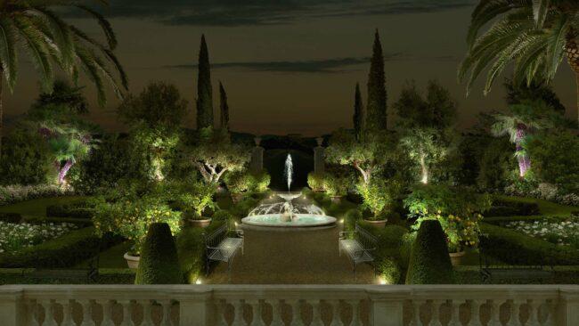 каменный фонтан в итальянском саду
