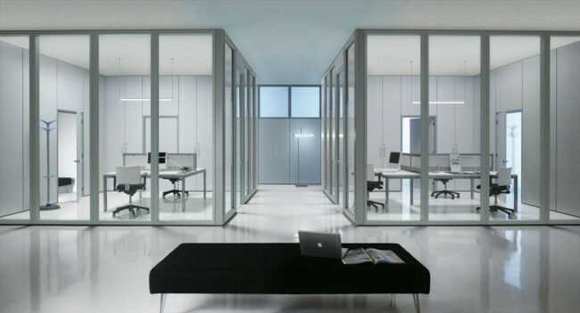 зонирование офисного пространства с помощью перегородок