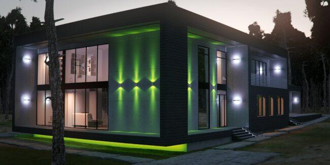 современное разноцветное освещение фасада