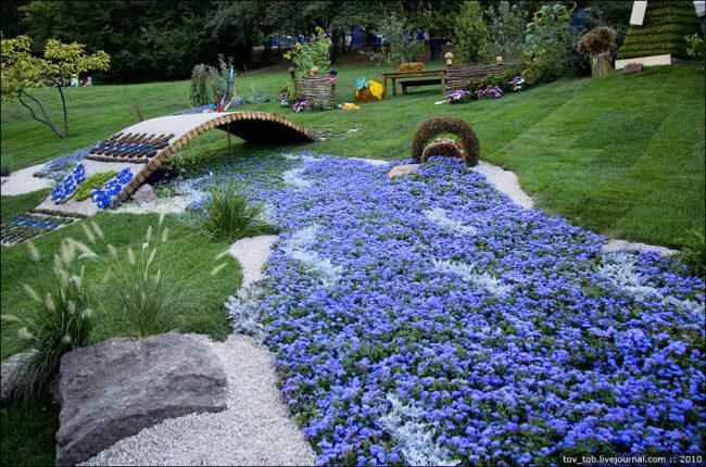 Красивый синий газон
