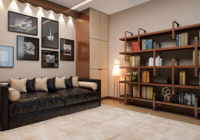Стильный стеллаж в интерьере гостиной