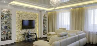 Основные преимущества натяжного потолка для гостиной