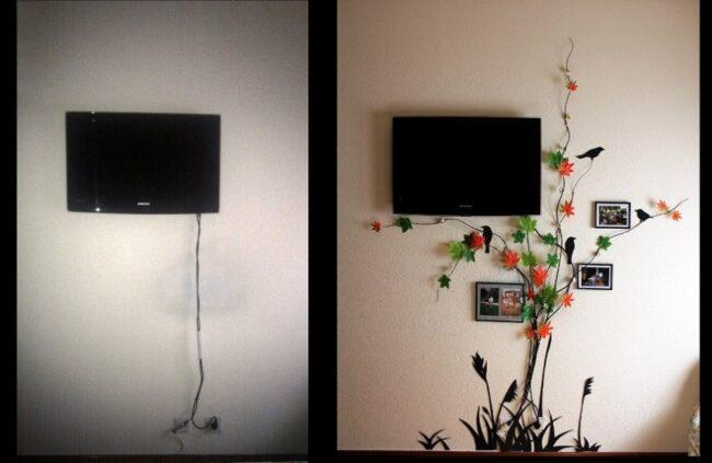 декорирование проводов от телевизора
