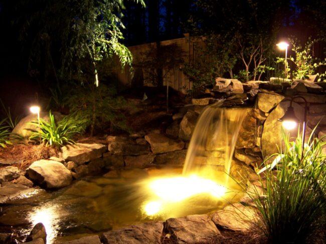 освещение водоема на дачном участке