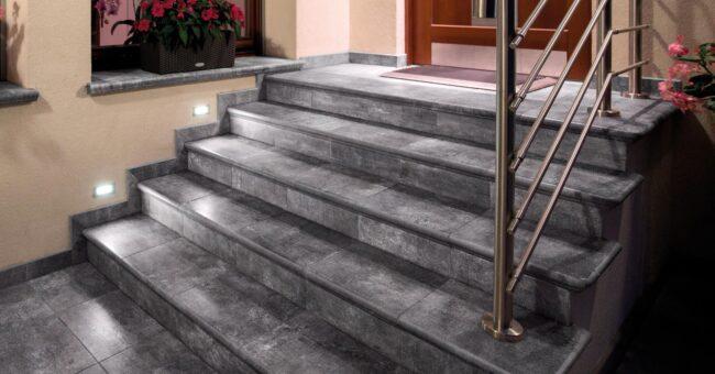 отделка наружной лестницы плиткой