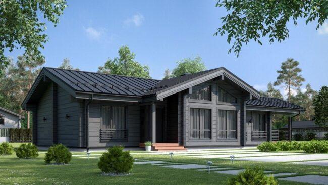 Дом из бруса серо-голубого цвета